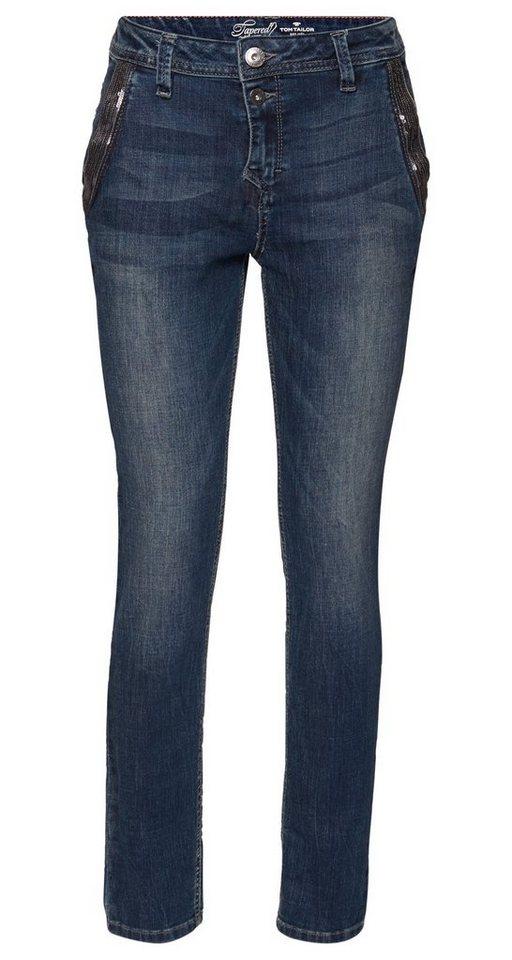 TOM TAILOR Jeans »Used-Jeans mit Pailletten« in dark stone wash deni