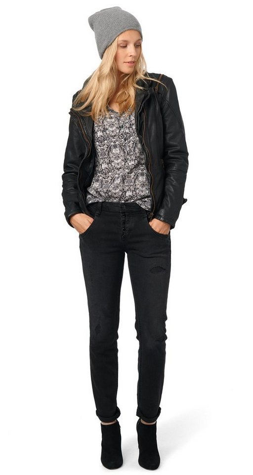 TOM TAILOR Jeans »Relaxed Tapered« in black denim
