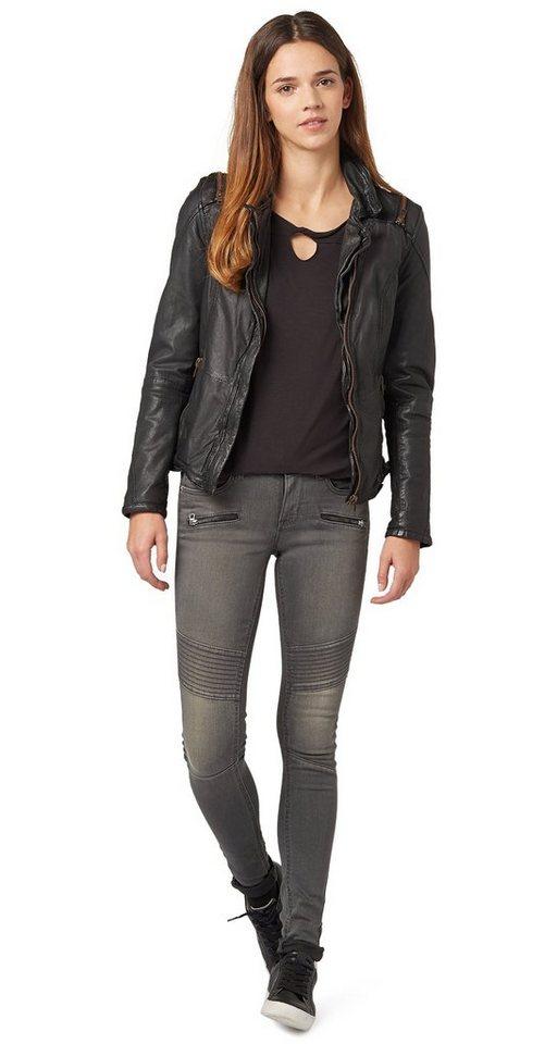 TOM TAILOR Jeans »Biker-Jeans mit Zippern« in grey denim