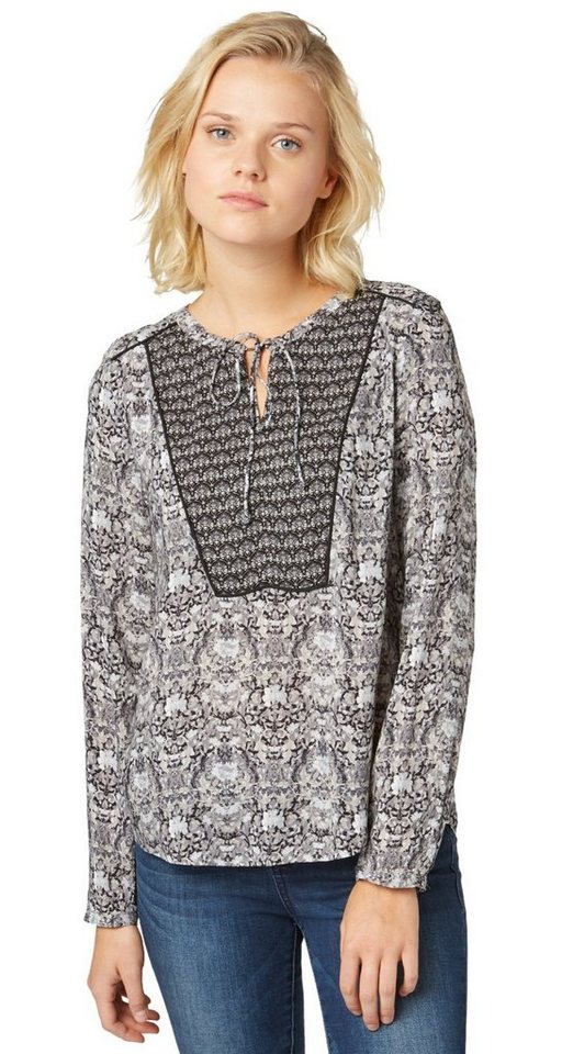 TOM TAILOR Bluse »leichte Bluse mit Mustermix« in black