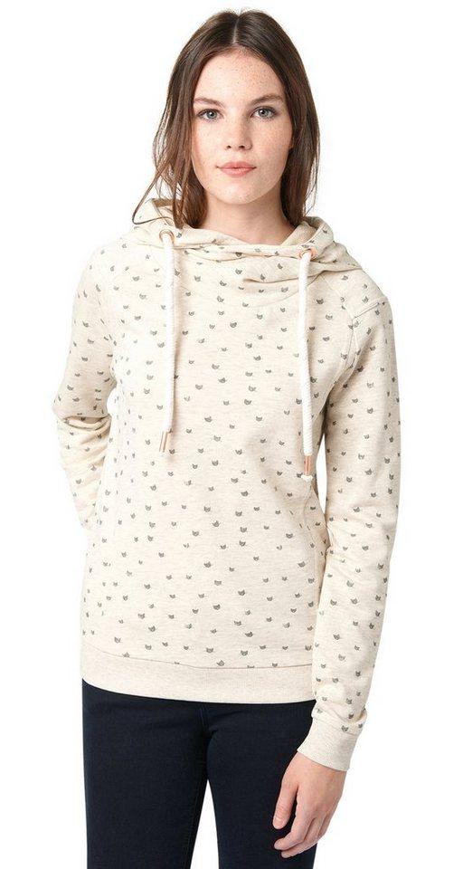 TOM TAILOR DENIM Sweatshirt »Hoodie mit Katzen-Print« in alabaster beige mela