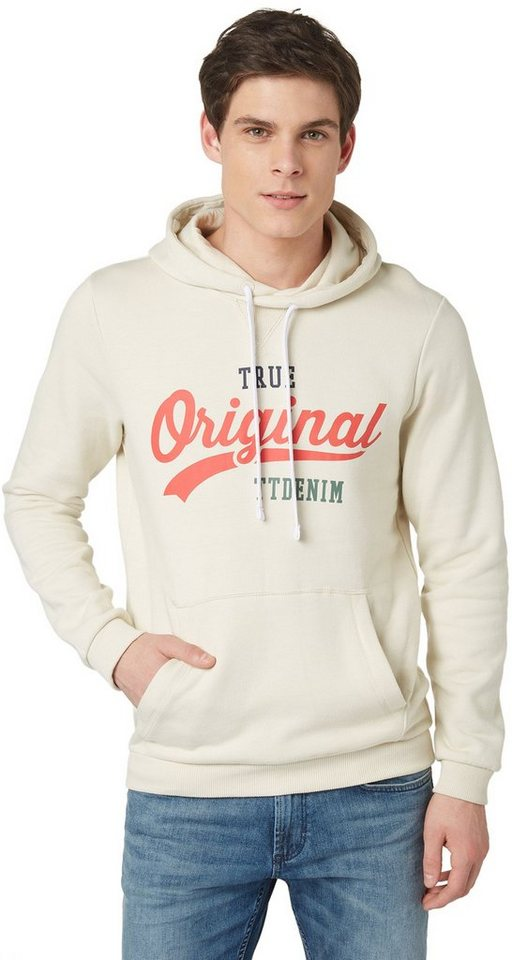 TOM TAILOR DENIM Sweatshirt »Melange-Hoodie mit Print« in soft beige solid