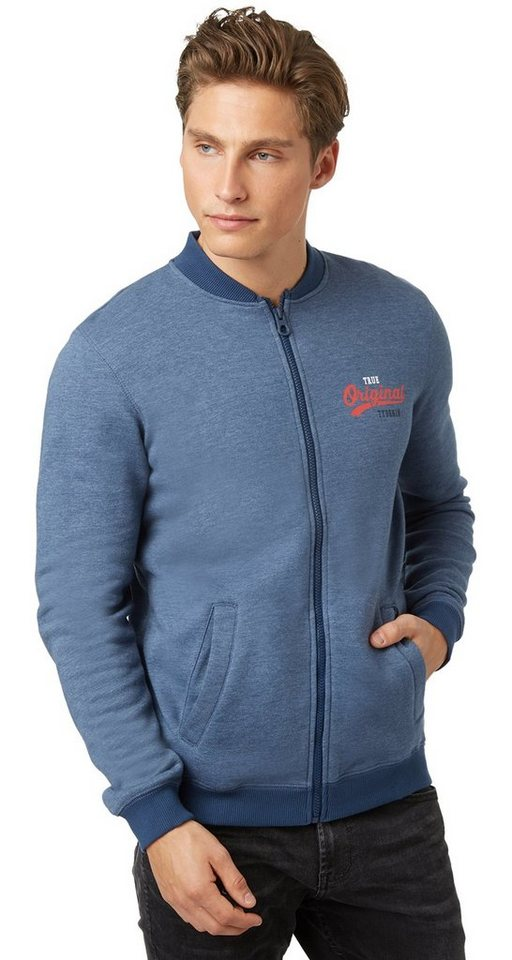 TOM TAILOR DENIM Sweatshirt »Bomber-Sweatjacke« in dark duck blue