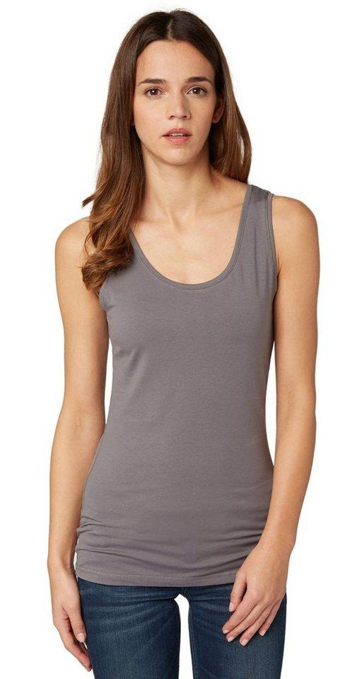 TOM TAILOR T-Shirt »Basic Tanktop mit breiten Trägern« in smoked pearl grey