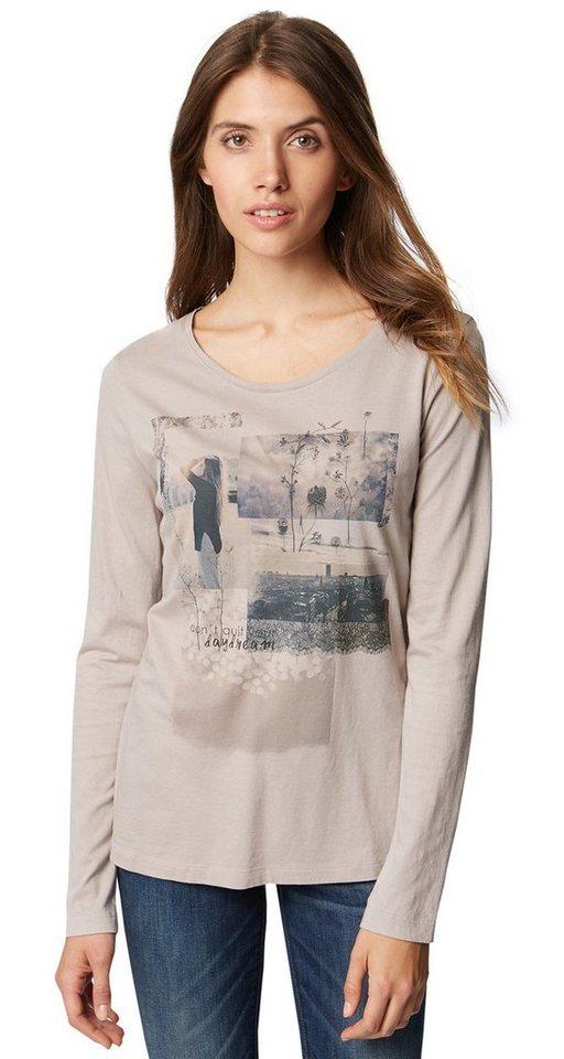 TOM TAILOR T-Shirt »Langarm-Shirt mit Foto-Print« in light frost grey