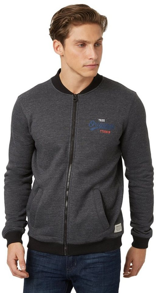 TOM TAILOR DENIM Sweatshirt »Bomber-Sweatjacke« in black