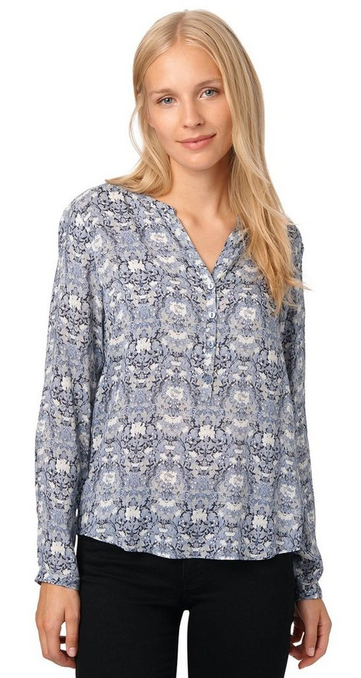 TOM TAILOR Bluse »gemusterte Bluse« in Fern Blue