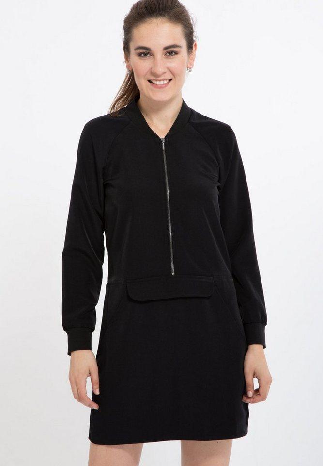 Mexx Blusenkleid mit sportiven Elementen in schwarz