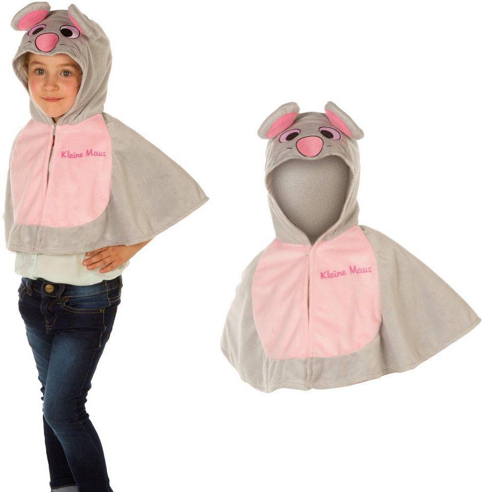 Heunec Karneval Cape für Kinder, Größe 86-110, »Kinder Cape Mäuschen« in grau/pink
