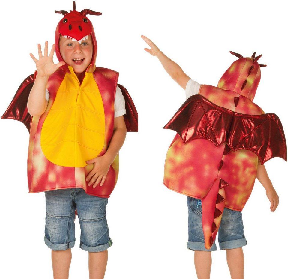 Heunec Karneval Kostüm für Kinder, Größe 128, »Kostüm-Weste Drache rot« in rot/gelb