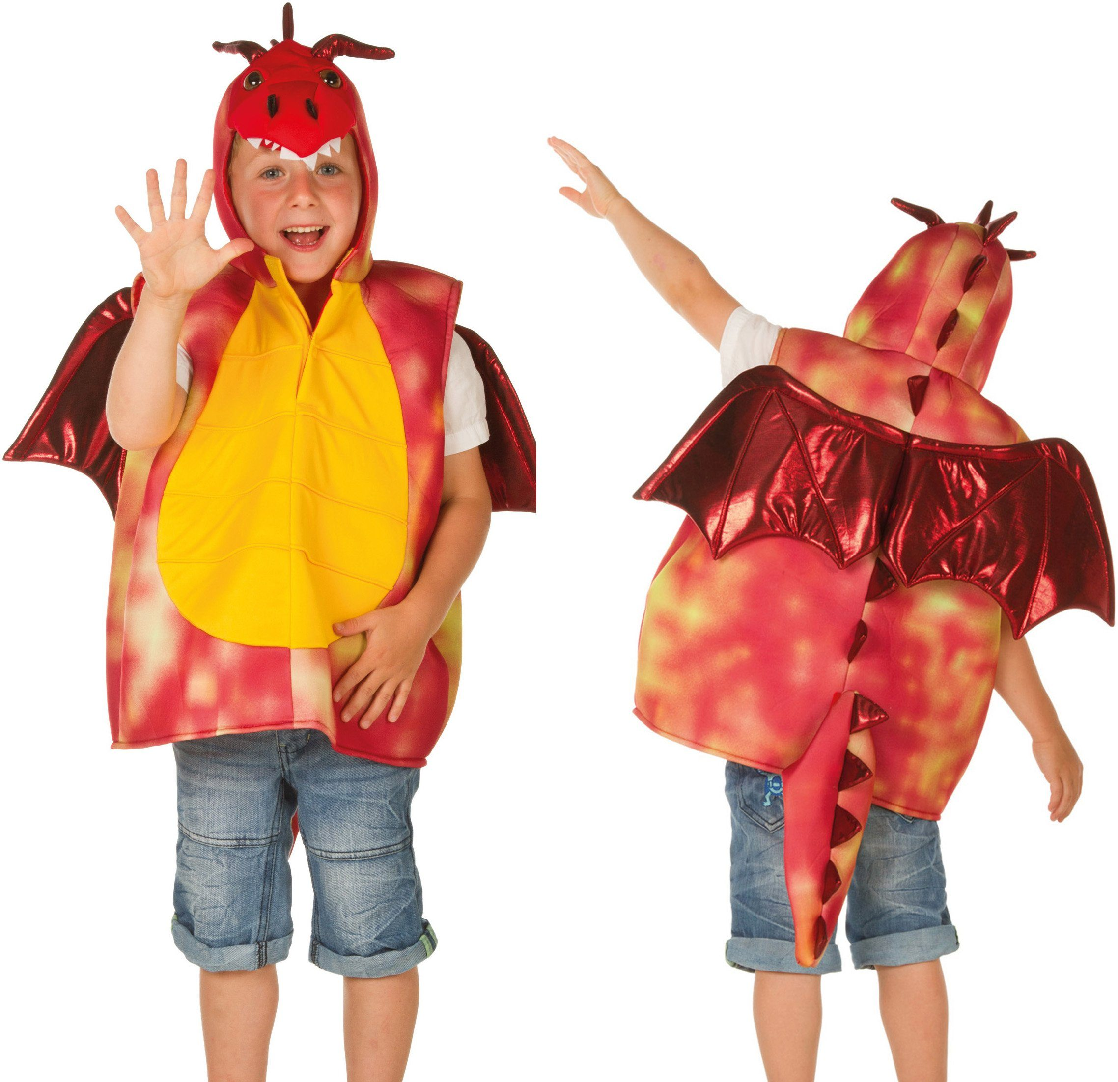 Heunec Karneval Kostüm für Kinder, Größe 128, »Kostüm-Weste Drache rot«