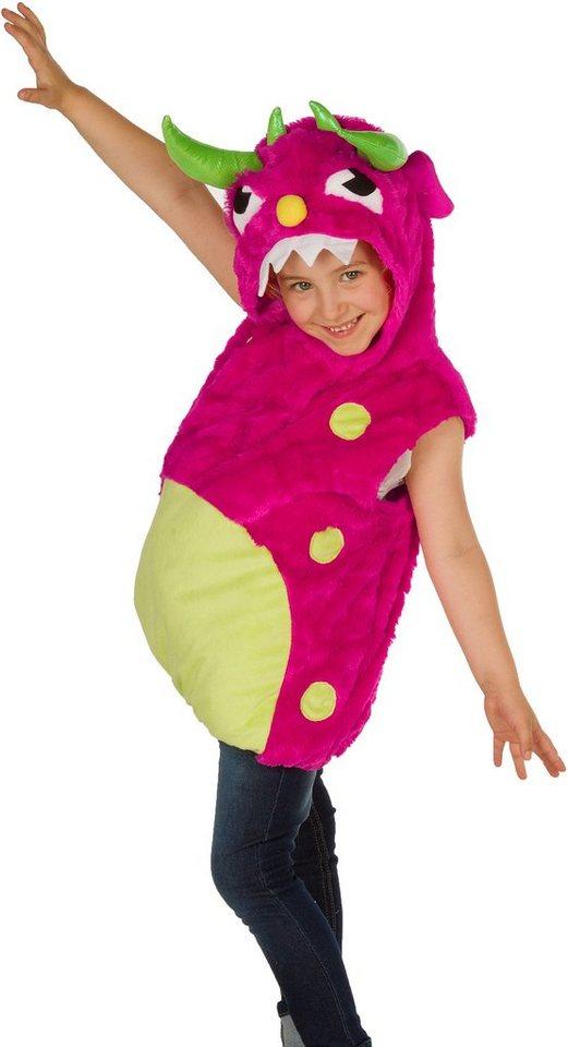 Heunec Karneval Kostüm für Kinder, Größe 128, »Kostüm-Weste Monster pink« in pink/gelb