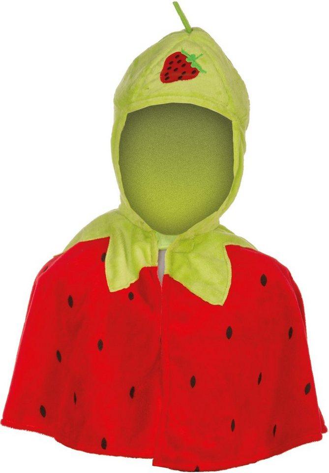 Heunec Karneval Cape für Kinder, Größe 86-110, »Kinder Cape Erdbeere« in rot/grün