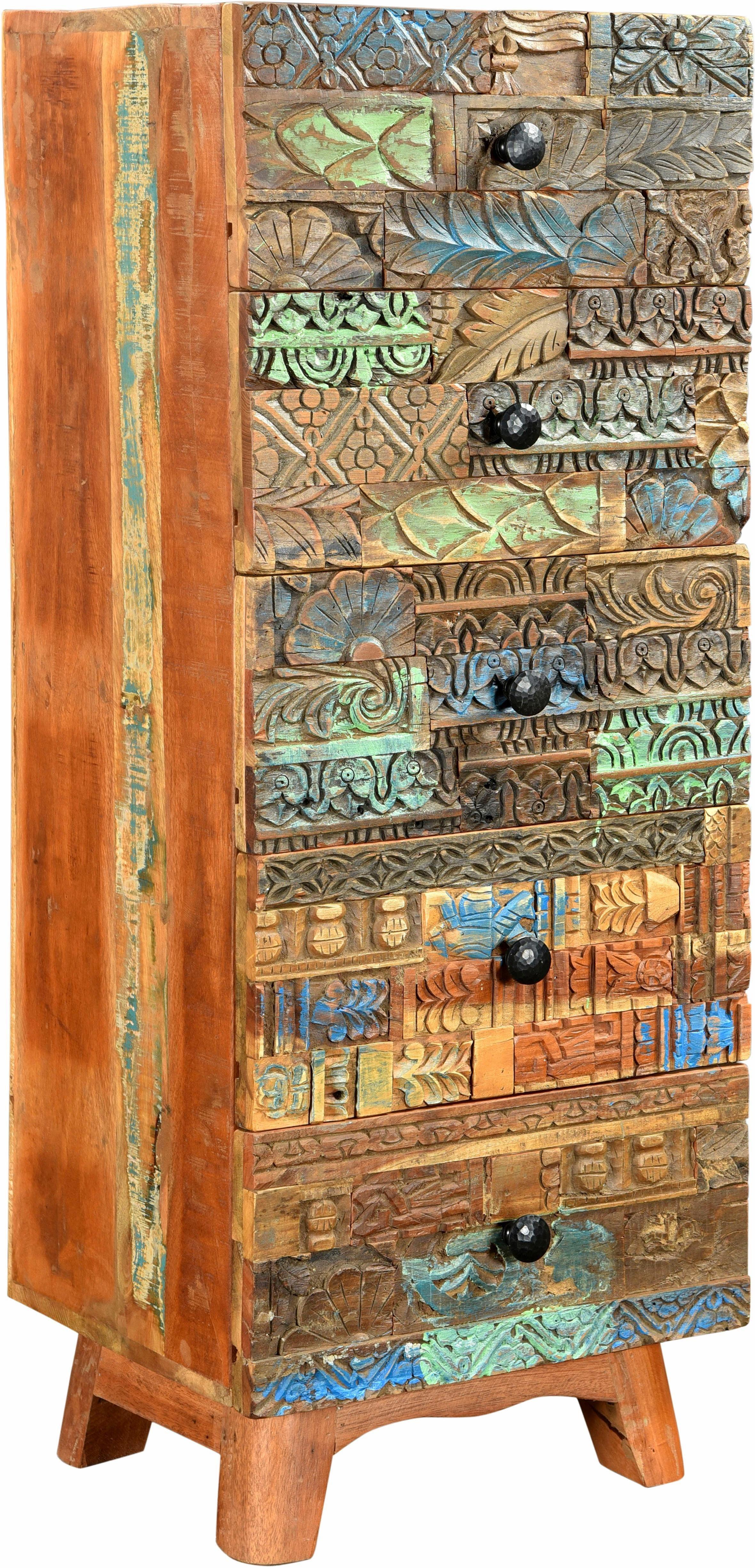 THE WOOD TIMES Kommode «Agra», Breite 45 cm, mit handgeschnitzten Verzierungen