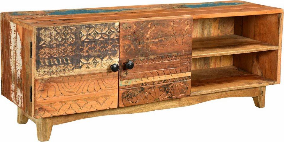 The Wood Times TV Lowboard «Agra», Breite 130 cm, mit handgeschnitzten Verzierungen in braun/bunt