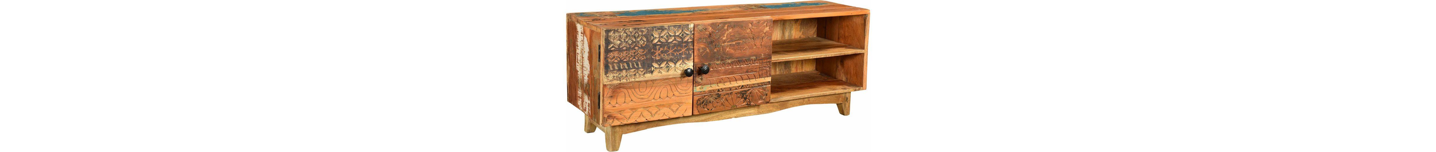 The Wood Times TV Lowboard «Agra», Breite 130 cm, mit handgeschnitzten Verzierungen