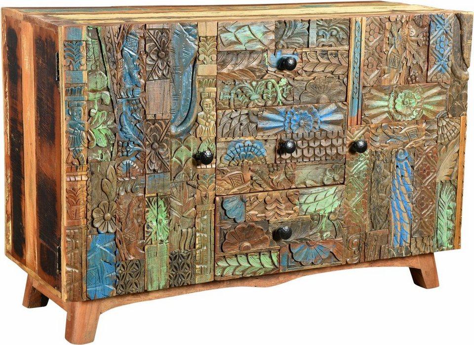 The Wood Times Sideboard «Agra», Breite 115 cm, mit handgeschnitzten Verzierungen in braun/buntes