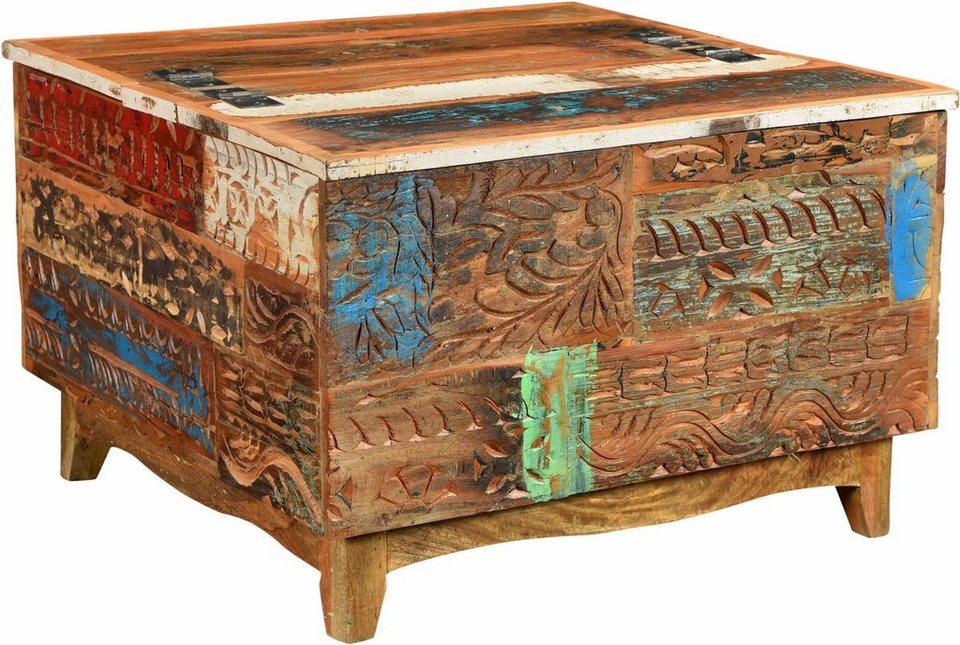 The Wood Times Couchtisch-Truhe «Agra», Breite 80 cm, mit handgeschnitzten Verzierungen in braun/bunt