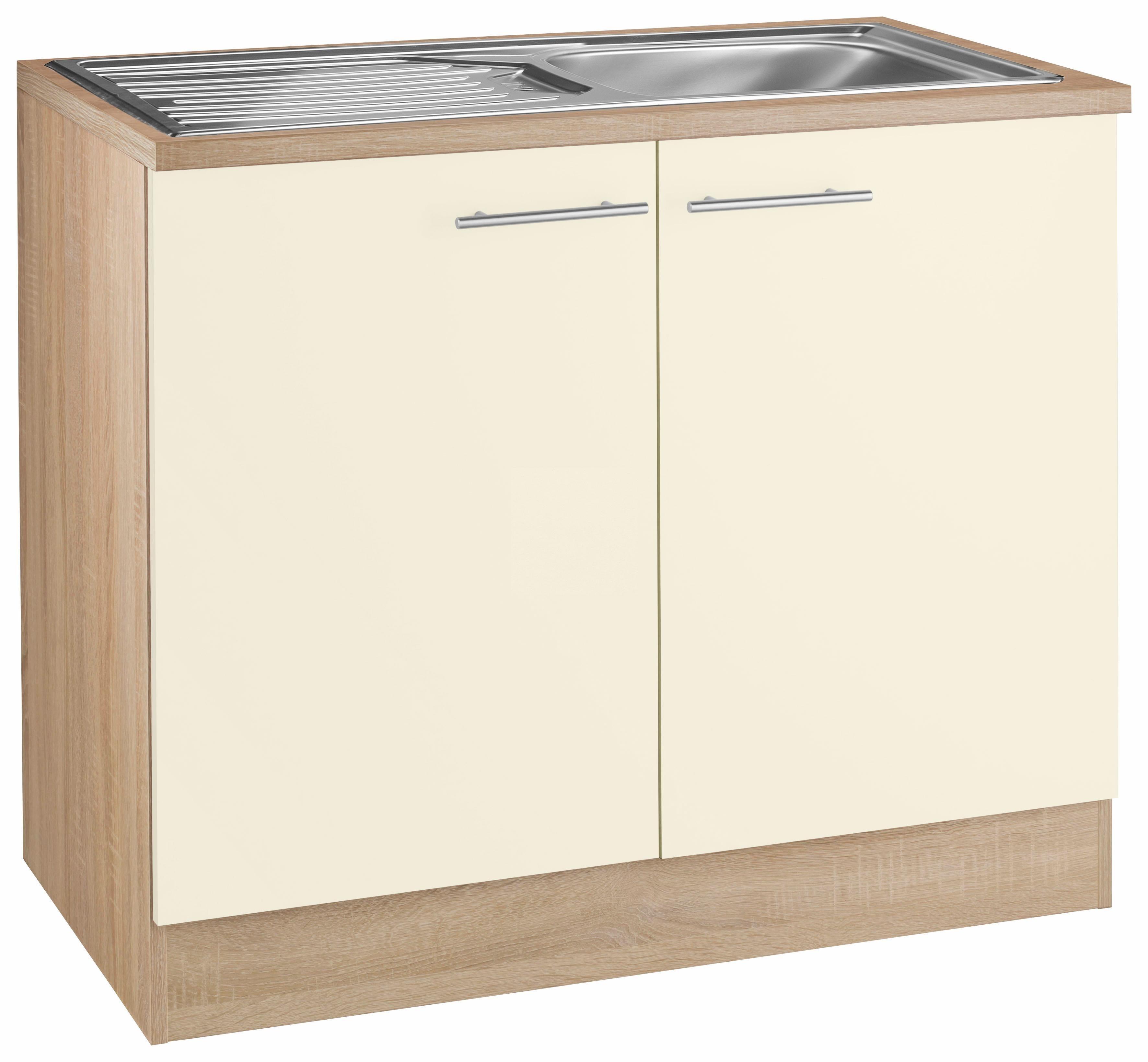 OPTIFIT Spülenschrank »Kalmar«, Breite 100 cm | Küche und Esszimmer > Küchenschränke > Spülenschränke | Hell - Matt - Glanz | Eiche - Edelstahl - Melamin | OPTIFIT