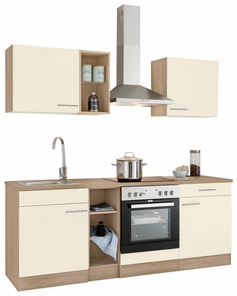 Optifit Küchenzeile »Kalmar« mit E-Geräten, Breite 210 cm in weiß