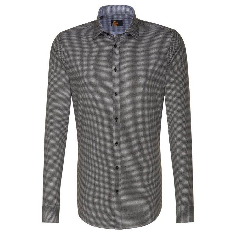 Seidensticker Businesshemd »UNO SUPER SLIM« in grau-schwarz
