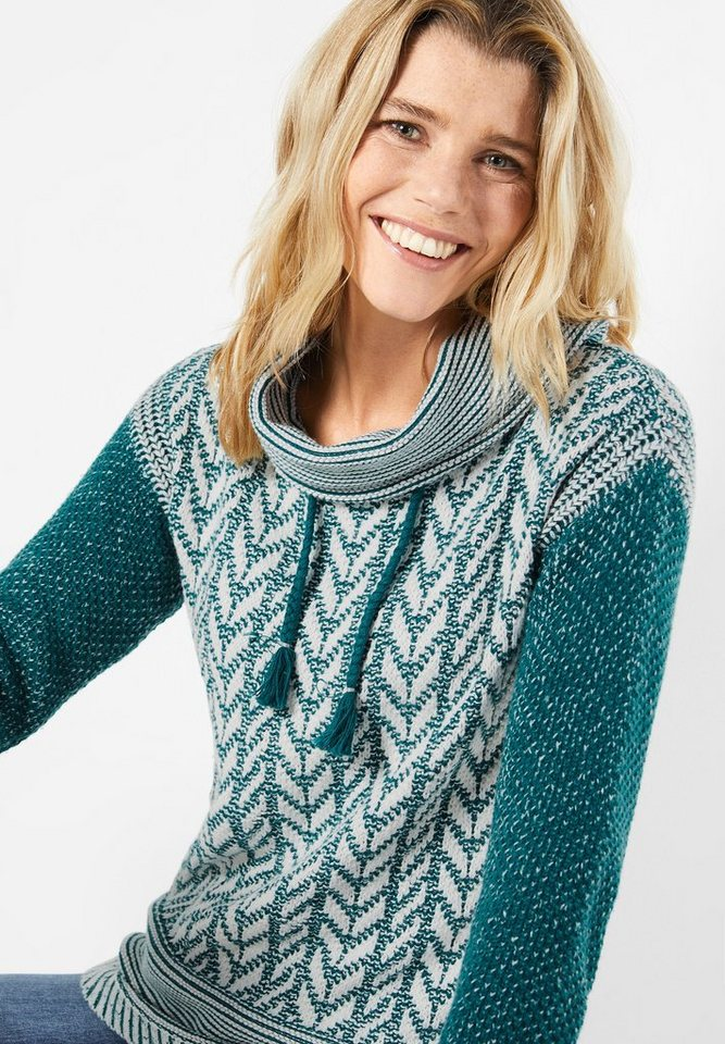 CECIL Pullover mit Jacquardmuster in deep teal green
