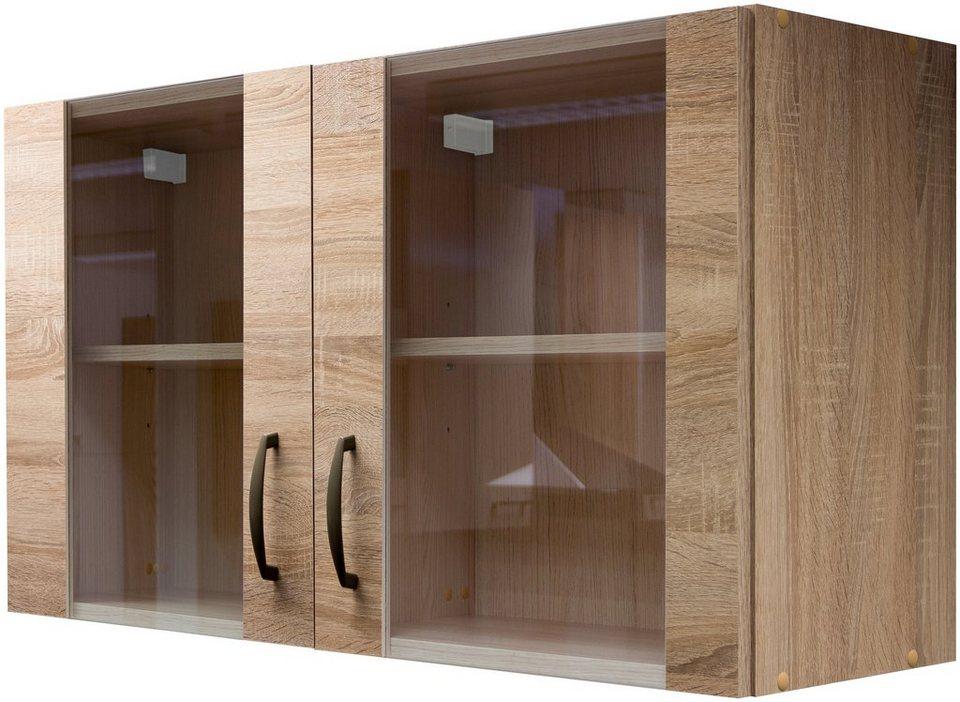 Glas-Küchenhängeschrank »Bergen«, Breite 100 cm in eichefarben sonoma