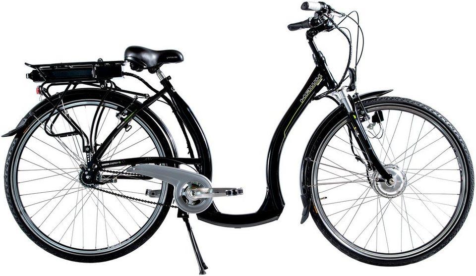 E-Bike Tiefeinsteiger »Green City Plus«, 26/28 Zoll, 7 Gang, Frontmotor, 238 Wh in schwarz