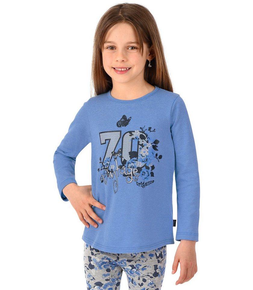 TRIGEMA Shirt Blumenprint in royal-melange