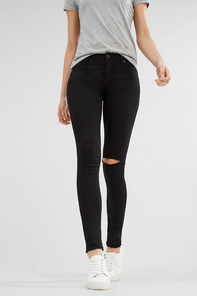 ESPRIT CASUAL Stretch-Denim im Used-Look in BLACK RINSE