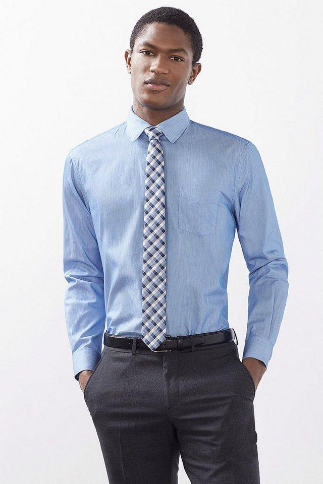 ESPRIT COLLECTION Hemd mit feinen Streifen, 100% Baumwolle in LIGHT BLUE