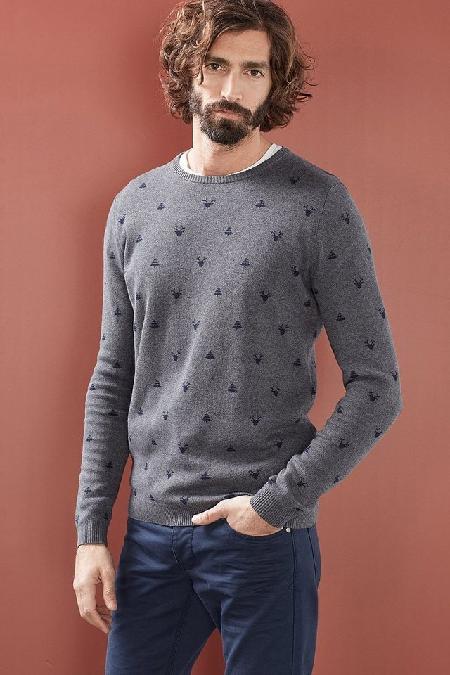 EDC Intarsien Pulli, 100% Baumwolle in MEDIUM GREY