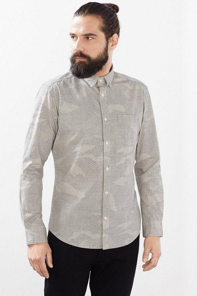 ESPRIT CASUAL Kerniges Baumwoll Canvas Hemd mit Print in WHITE