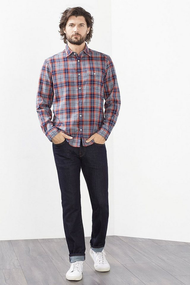 ESPRIT CASUAL Karo Hemd mit Struktur, 100% Baumwolle in NAVY