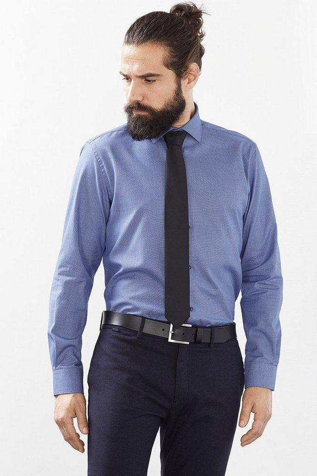 ESPRIT COLLECTION Hemd mit Webmuster, 100% Baumwolle in NAVY