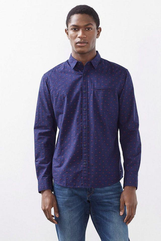 ESPRIT CASUAL Hemd mit Webmuster, 100% Baumwolle in NAVY