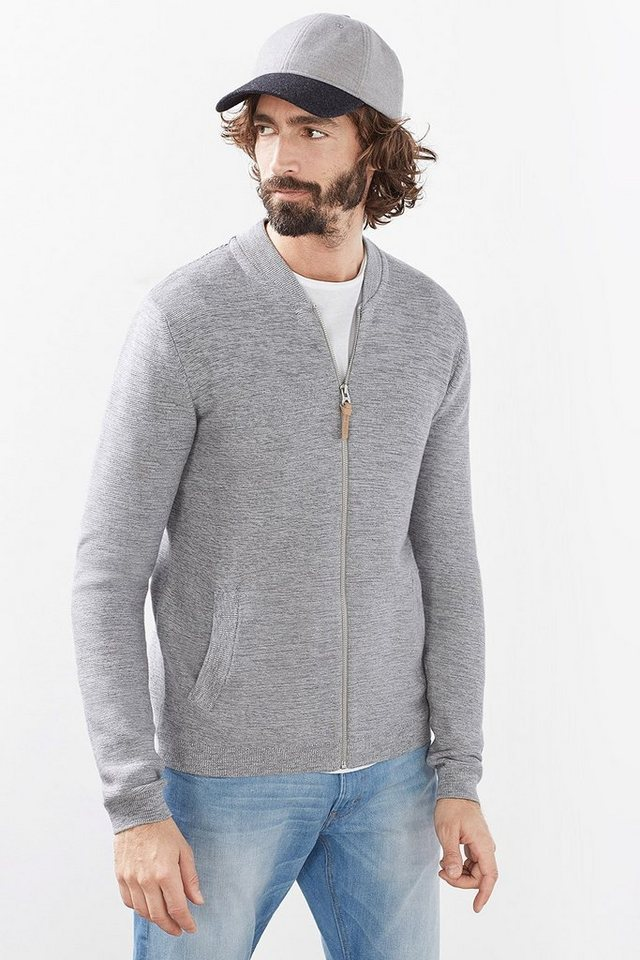 EDC Zip Cardigan aus Baumwollstrick in LIGHT GREY