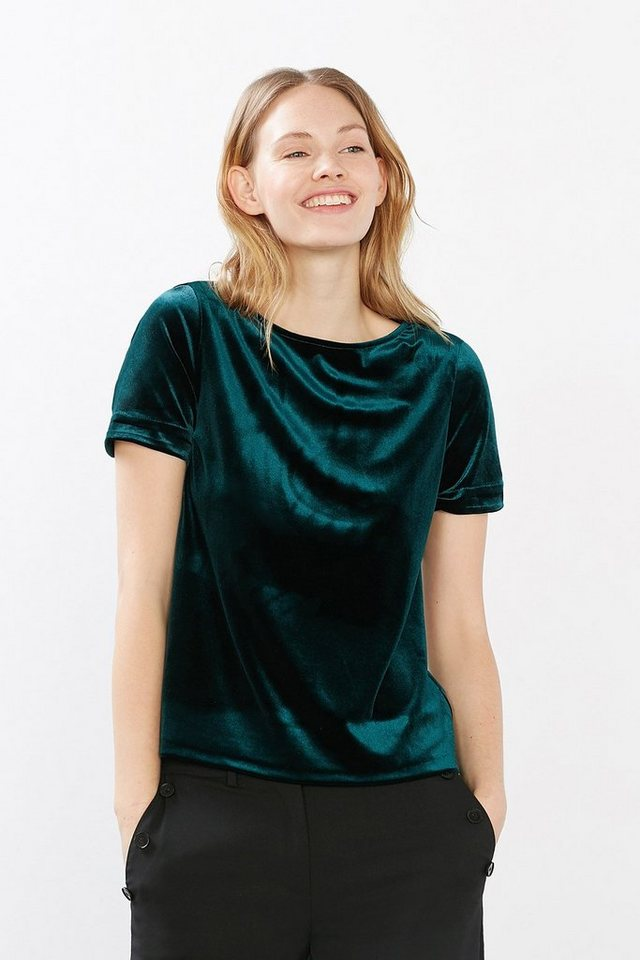 EDC Bluse aus edlem Stretch-Samt in DARK GREEN