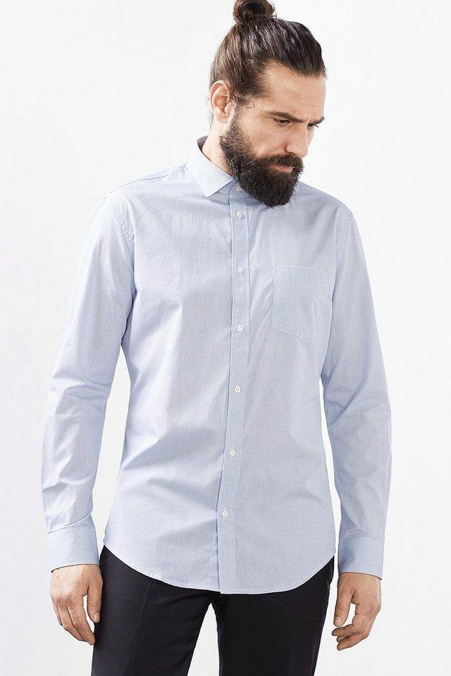 ESPRIT COLLECTION Hemd mit kleinem Karo, 100% Baumwolle in LIGHT BLUE