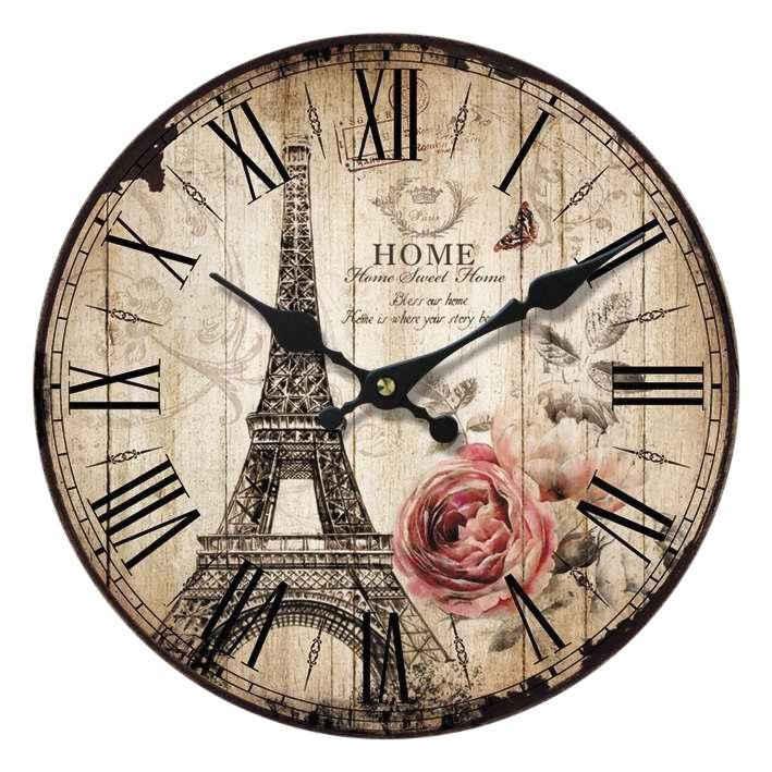 Home affaire Wanduhr »Home Paris« (rund, Ø 34 cm, römische Ziffern)