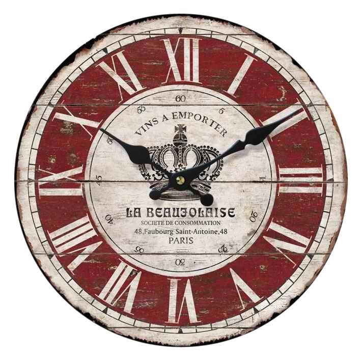Home affaire Wanduhr »La Beaujolaise« (rund, Ø 34 cm, römische Ziffern)