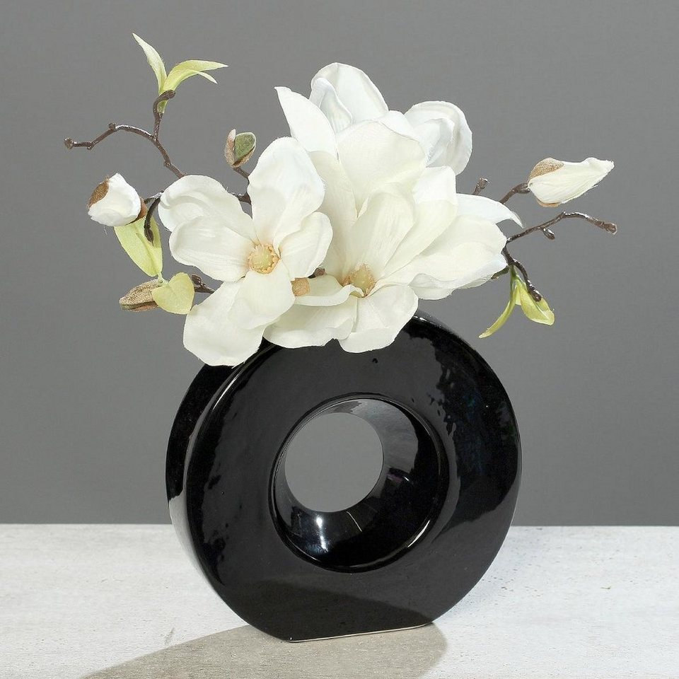 Home affaire Kunstpflanze »Magnolie in schwarzer Vase« in creme