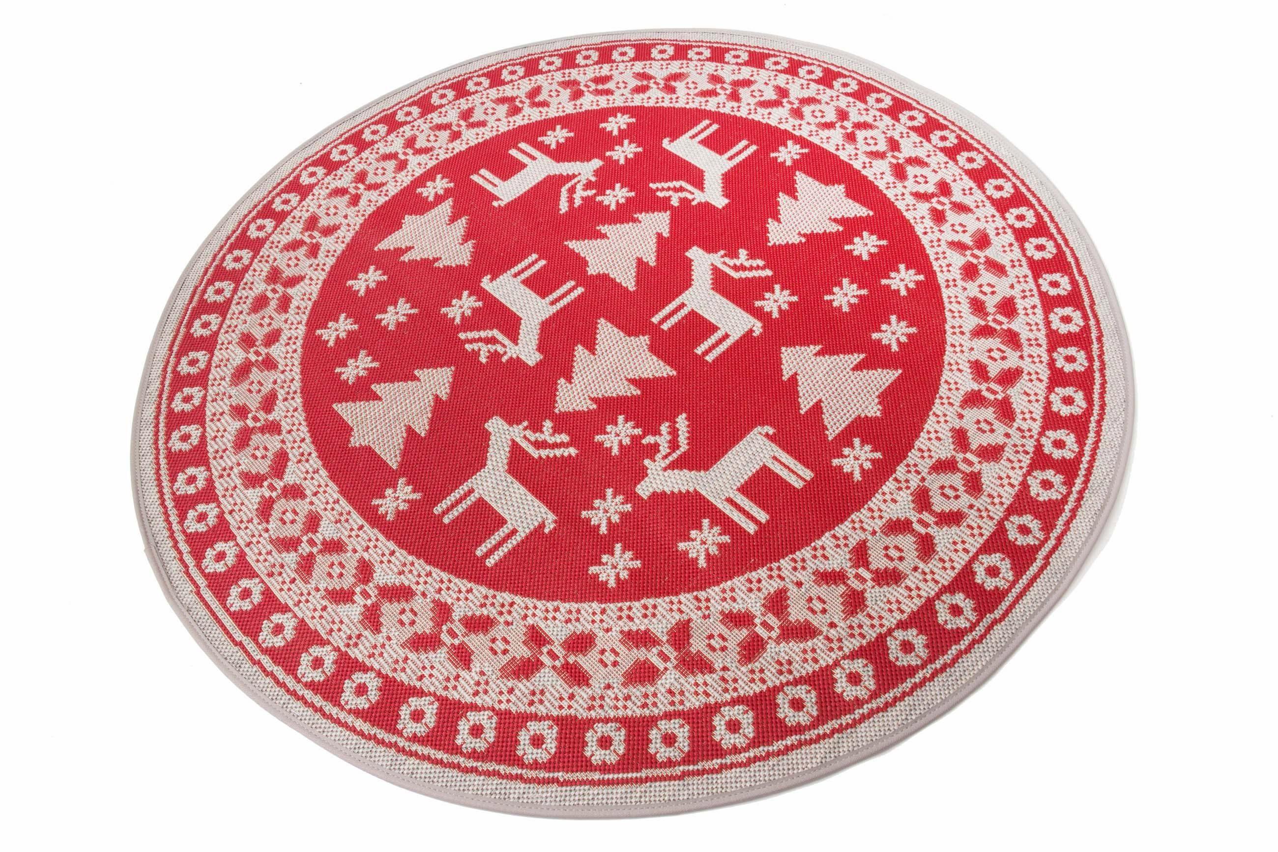 Teppich »Weihnachtsteppich«, Teppich Kontor Hamburg, rund, Höhe 5 mm, abwaschbar