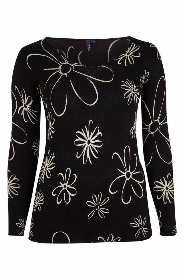 Paprika V-Ausschnitt-Pullover »Pullover mit großen Blumen« in schwarz