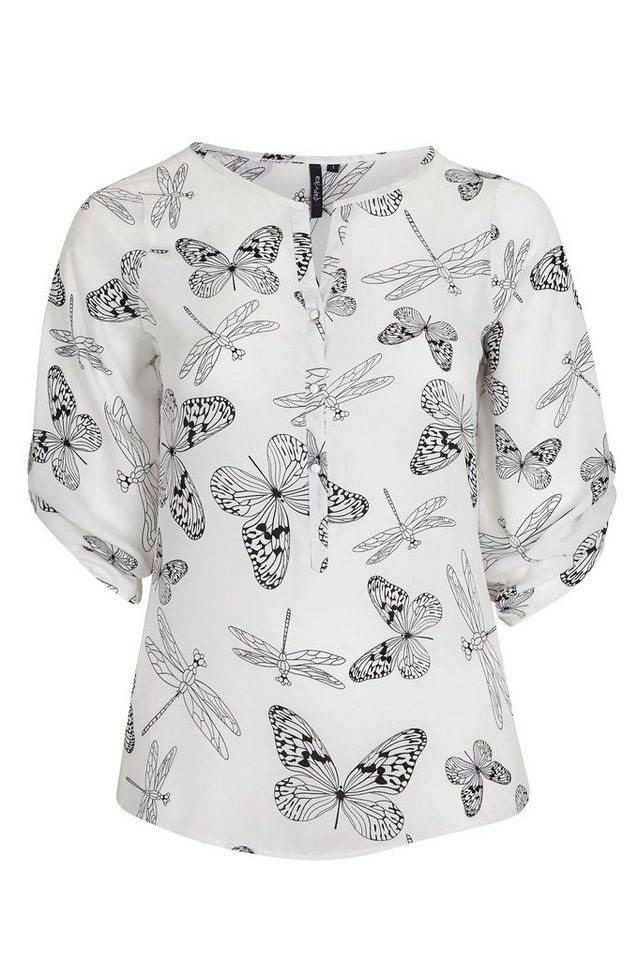 Paprika Klassische Bluse »Sommerbluse, Schmetterlinge und Libellen« in weiß