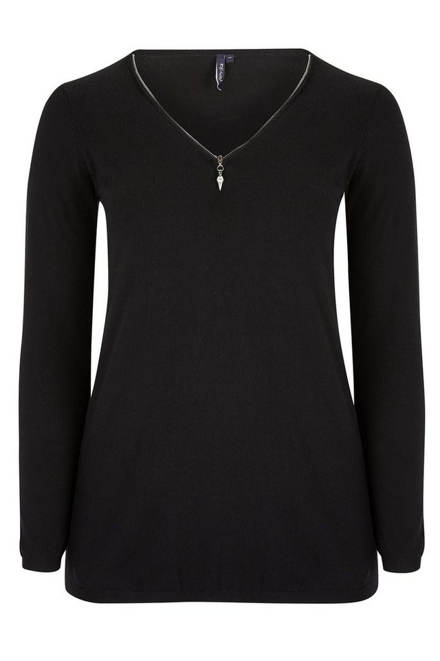 Paprika V-Ausschnitt-Pullover in schwarz