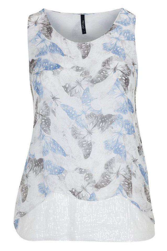 Paprika Blusentop »Mit Schmetterlingen bedruckte Bluse mit Paillettenband« in weiß
