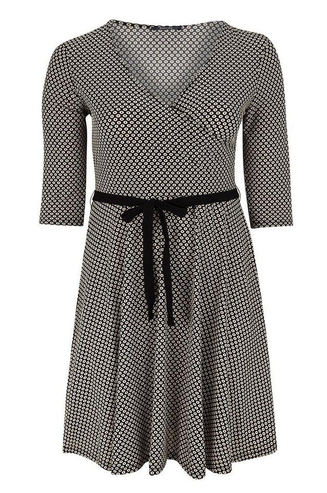 Paprika Druckkleid »Kleid mit Cache-cœur aus Grafik-Strick« in schwarz