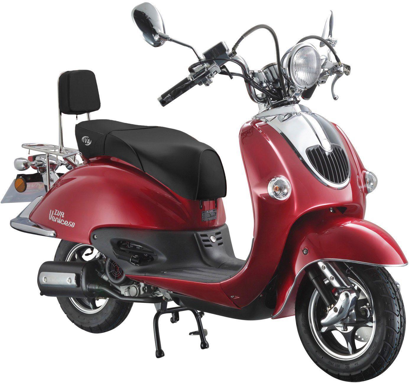 Retro-Motorroller »RETRO VENICE«, 50 ccm 45 km/h, für 2 Personen, rot/schwarz