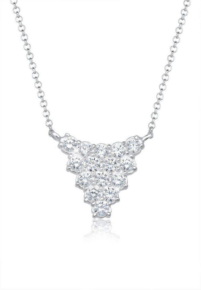 Elli Halskette »Collier Dreieck Zirkonia 925 Sterling Silber« in Silber
